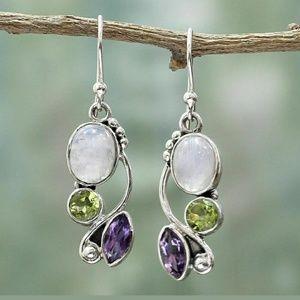 Moonstone,  Amethyst & Peridot Earrings